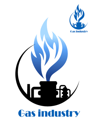 Well gas production and gas processing factory emblem or icon Vectores