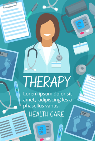 Medical therapy poster for hospital or clinic. Vector design of doctor therapist with stethoscope, medical X-ray, scales or blood pressure meter and thermometer for healthcare center Illustration