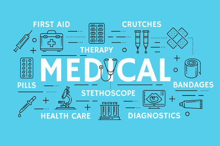 Medical thin line art symbols for medicine and pharmacy. Vector poster of first aid kit, pharmaceutical treatments x-ray, stethoscope or thermometer, microscope and syringe with pills and patch Illustration