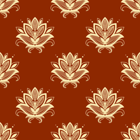 Yellow paisley floral seamless pattern on orange background for interior design