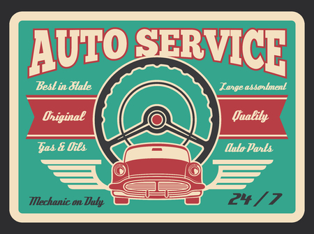 auto service vintage poster for car mechanic or garage station. Vector premium premium quality design for gas and oil service transport parts shop and repair or automobile sale center Illustration