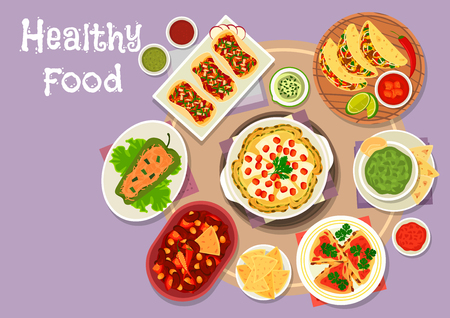 Mexican cuisine snacks icon of meat tomato and bean vegetable tacos, bean tomato stew with chilli, stuffed pepper with meat, avocado sauce guacamole, grilled chicken tortilla, spicy cheese pancake Vector Illustration