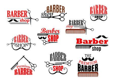 Barber shop emblems set. Vector icons of beards and mustaches shaving razor and haircut scissors and hairbrush combs for barbershop salon, premium hairdresser coiffeur or hipster trend haircutter