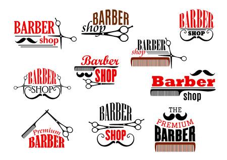Friseur-Embleme gesetzt. Vektorsymbole von Bärten und Schnurrbärten, die Rasiermesser- und Haarschnittscheren und Haarbürstenkämme für Friseursalon, Premium-Friseur-Friseur oder Hipster-Trend-Haarschneider rasieren