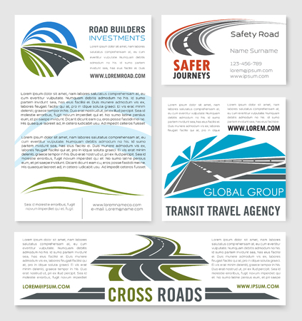 Road construction and investment company vector templates of banner and corporate business card for transit travel agency or highway or motorway safety transportation service