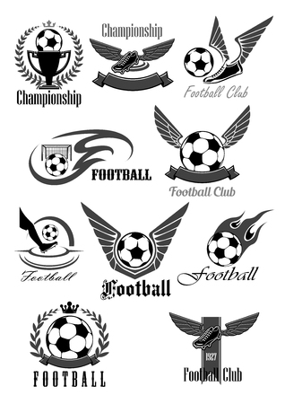 Football or soccer icons for sport club or championship game award. Vector symbols of fire ball with wings for goal, footballer boots or cleats, winner ribbon and victory cup with crown Ilustracja