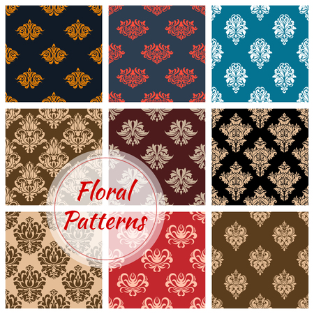 Floral ornate seamless patterns of vector damask tracery and flourish adornment of luxury flowers. Vintage baroque motif ornaments for interior decor design tiles and backdrops Illustration