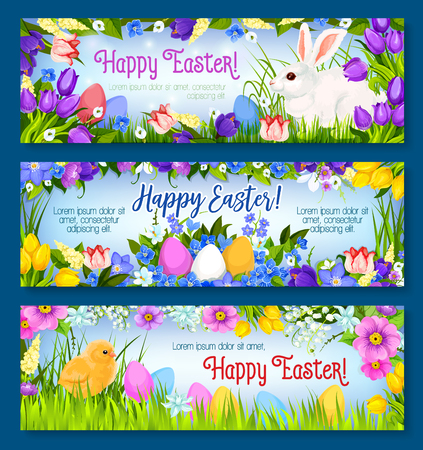 Happy Easter greeting banners set. Vector paschal hunt design of eggs, bunny and chick in spring flowers bunch of narcissus, crocuses, daffodils and lily tulips. Easter or Holy Sunday religion holiday