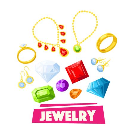 Plakat kreskówka biżuteria i szlachetne kamienie szlachetne. Złoty naszyjnik, pierścionek, kolczyk, zawieszka, bransoletka i łańcuszek z brylantem, perłą, szafirem, szmaragdem i rubinem. Projektowanie sklepów luksusowych, modowych i jubilerskich