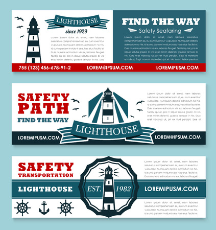 Safety seafaring banners with lighthouse or ship path beacon and marine symbols of anchor and helm. Vector templates set for safety sea and ocean nautical transportation company Illustration
