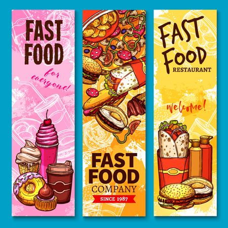 Fast food sketch welcome banners or menu. Vector burgers sandwiches, desserts and pizza. Fastfood french fries, burrito doner and kebab, ice cream, donut and coffee soda drinks for delivery Illustration