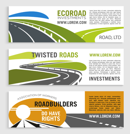 Roads and highways vector banners with motorway lane and expressway drive. Set for transportation route repair service, eco road construction and building or investment company Ilustrace