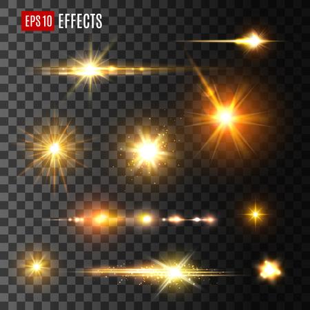 Stelle e lampi dorati effetti di luce su sfondo trasparente. Icone vettoriali di raggi luminosi di stelle o raggi di sole scintillanti e scintillio dorato si sfocano con particelle luminose o scintille spaziali Vettoriali