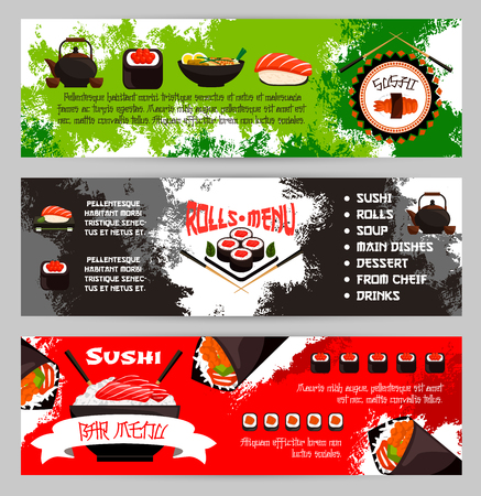 Sushi menu banners for Japanese cuisine restaurant. Vector set of fish rolls, seafood noodles or salmon maki and eel nigiri with rice and chopsticks, tuna sashimi, tempura shrimp prawn and green tea