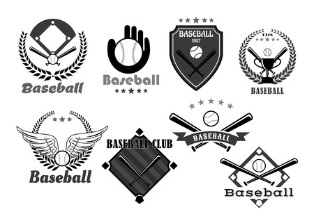 Baseball icons of baseball glove and pin for sport club or championship tournament. Victory award symbols of vector winner cup goblet wings, heraldic ribbon and laurel wreath with crown and stars