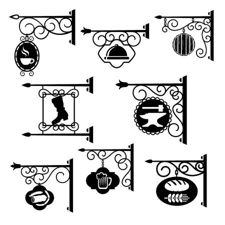 Letreros vintage de talleres. Forja de letreros retro de las tiendas y letreros colgantes de metal forjado. Iconos vectoriales para panadería y cervecería o carnicería y cafetería, herrería y zapatero