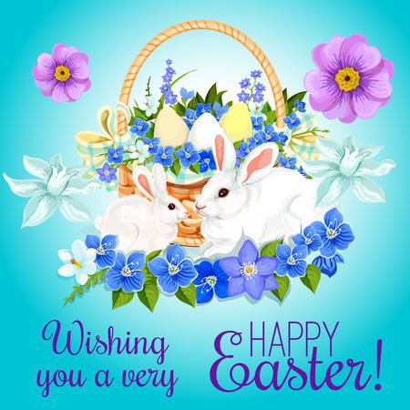 Cartolina d'auguri di Pasqua felice di uova pasquali e conigli di coniglietto in cesto di vimini e mazzo di fiori primaverili di crochi, narcisi e tulipani. Disegno vettoriale per auguri di vacanza di religione di Pasqua