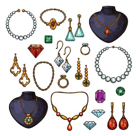 Bisutería bijou complementos de moda de gemas, oro o diamantes. Vector iconos aislados de anillo de oro de boda, aretes de plata con rubí o esmeralda, collar o colgante y broche de corazón de zafiro