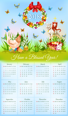 Easter calendar with holiday symbols cartoon banner. Year calendar with Easter egg, rabbit bunny, spring flowers, chicken, chick, lamb of God with cross and egg hunt basket on green grass meadow