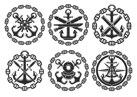 Nautical heraldic emblems and badges of anchor and helm, sailor compass and warhead bombs, ship chains and marine sabers with navigation sextant and scuba diver helmet. Vector isolated round icons