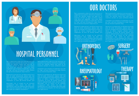 Hospital personnel and clinic doctors brochure. Medical departments of therapy, orthopedics rheumatology and surgery healthcare treatment and medicines. Vector pills, spine joint x-ray and syringe Stock Illustratie