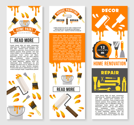 Home repair and renovation service banners set. Vector design of handy construction and carpentry work tools painting brush or hammer, ruler or screwdriver and trowel, wrench, vise or plane and drill