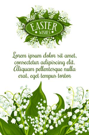 Pasen wenst wenskaart. Witte lelietje-van-dalenbloemen met groene bladeren en tekstlay-out voor uw wensen. Pasen-lentevakantie feestelijk spandoek of posterontwerp Stockfoto - 106164965