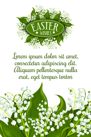 Easter Wishes greeting card. White lily of the valley flowers with green leaves and text layout for your wishes. Easter spring holiday festive banner or poster design