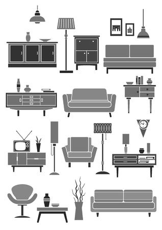 Home and room furniture icons. Set of chair or armchair, sofa and table, chest or wardrobe. Vector interior floor lamp and wall clock, flower vase and tv stand, bookshelf and picture or photo frame Illustration