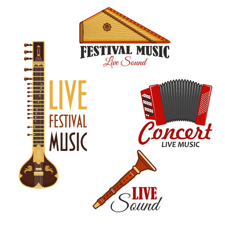 Live music concert or festival vector icons. Set of musical instruments emblems of gusli harp and flute pipe, accordion or bayan harmonic, lute or biwa or koto Çizim