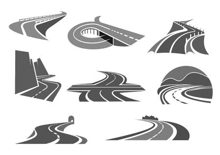 Icone vettoriali di autostrade e strade autostradali. Simboli per società di costruzioni o costruzioni in modo espresso o sicurezza dei trasporti e servizio di riparazione, agenzia di viaggi o tecnologia del traffico e agenzia turistica Vettoriali
