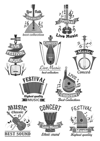 Live music festival or concert icons. Vector musical instruments fiddle violin and balalaika, flute and accordion or harmonic. Set of lute or biwa and banjo guitar with drums and bandura or mandolin