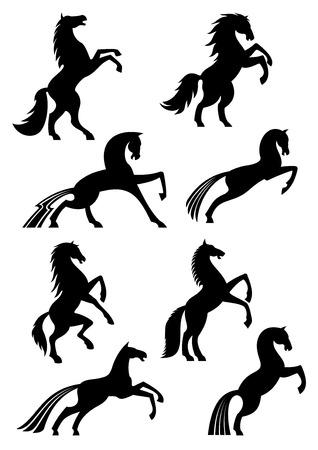 Iconos de caballos o siluetas de emblemas equinos heráldicos negros. Vector mustang corriendo, corriendo o criándose y saltando o pisando fuerte para la insignia de carreras deportivas de caballos, paseos ecuestres o exhibición Ilustración de vector