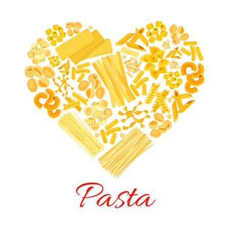 Pasta heart symbol of macaroni and spaghetti. Italian cuisine poster of vector penne and lasagna or tagliatelli and ravioli, farfalle pappardelle, konkiloni bucatini and tortiglioni creste di gallo