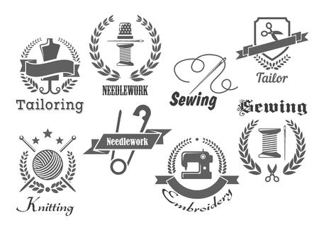 Cucito o su misura icone vettoriali. Emblemi per ricamo, sartoria o lavoro a maglia con filo da cucire in ago e ditale, forbici e bugna di lana, macchina da cucire e nastri di stoffa con ghirlanda