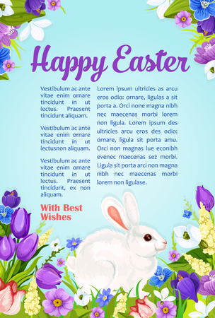 Happy Easter poster with wishes and greetings template. Paschal eggs and bunny in spring flowers bunch of crocuses, daffodils lily and tulips. Vector design for Easter religion holiday card