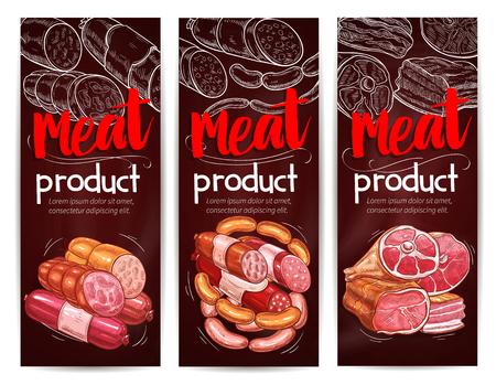 Metzgerei-Banner für Fleisch- und Wurstwaren. Vektormetzgereiprodukte aus geräuchertem Speck und Salami oder Peperoni-Kielbasa-Bündel, gesalzenem Schweineschmalz oder Schinkenklumpen und Gourmet-Currywürsten