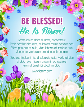 Easter poster with eggs, bunny and chick for paschal Be Blessed greetings. Spring flowers bunch frame of crocuses, daffodils and tulips. Happy Easter vector design for Holy Sunday religion holiday