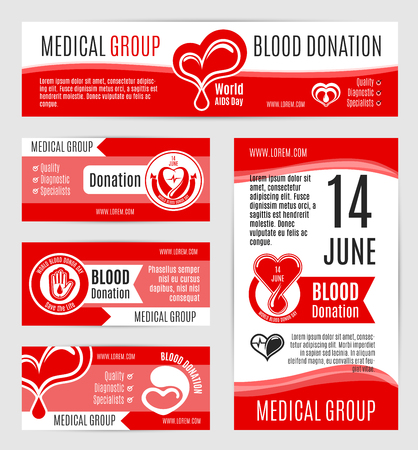 Blood donation posters or vector banners for voluntary donor day or 14 June world AIDS day. Design for donorship center and medical group or hospital with symbols of heart and helping hand Illusztráció