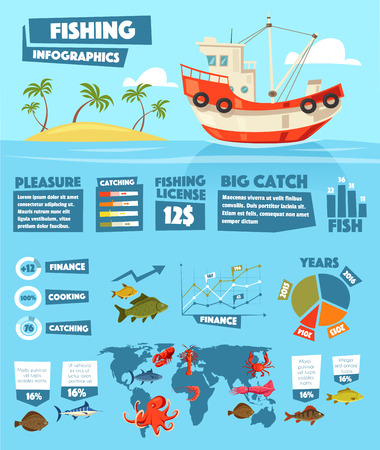 Fishing infographics of vector fish and seafood statistics. Fishery ship or boat industry data graphs, charts and diagrams. Fisher catch of crab or lobster, shrimps and squids, tuna and salmon
