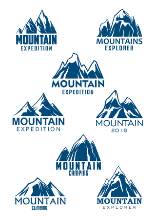Climbing or mountain hiking sport vector icons for mountaineering adventure trip or Alpine explorer expedition and camping tourism. Emblems set of blue Alp rocks or mount and snow peaks 스톡 콘텐츠 - 106165020