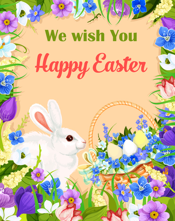 Happy Easter vector greeting card. Basket of paschal eggs, flowers and bunny. Vector floral bouquet frame of crocuses, narcissus daffodils lily and tulips. Design for Easter religion holiday wishes Illustration