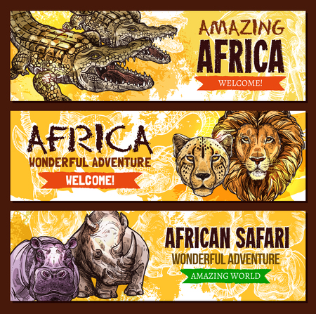 African Safari wild adventure entertainment poster. Vector design of Africa savanna wildlife world crocodile alligator, lion or cheetah panther, hippopotamus and rhinoceros for zoo welcome template Illustration