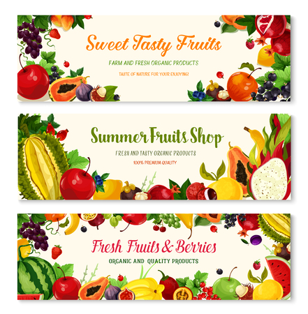 Fruits and berries banners for farmer market shop. Vector harvest of watermelon and melon, exotic papaya and avocado, strawberry and raspberry crop, apricot, apple and pomegranate ripe and grapes