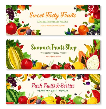 Banners de frutas y bayas para la tienda del mercado de agricultores. Vector cosecha de sandía y melón, papaya exótica y aguacate, cultivo de fresa y frambuesa, albaricoque, manzana y granada madura y uvas Ilustración de vector