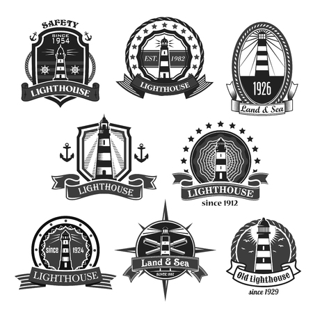 Lighthouse or marine ship beacon icons of heraldic nautical anchors, sailor compass or ship helm and seagulls. Heraldry symbol of shields and ribbon badges with stars Illustration
