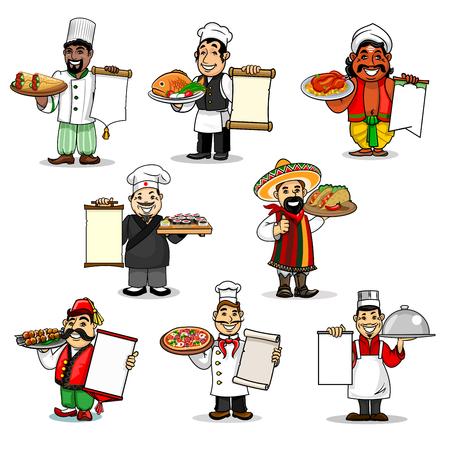 Köche halten Restaurantmenü der europäischen und japanischen, mexikanischen und türkischen, chinesischen und indischen, arabischen und italienischen Küche. Traditionelle Hühnchen- und Fischgerichte, Sushi, Döner, Kebab, Tacos und Pizzagerichte