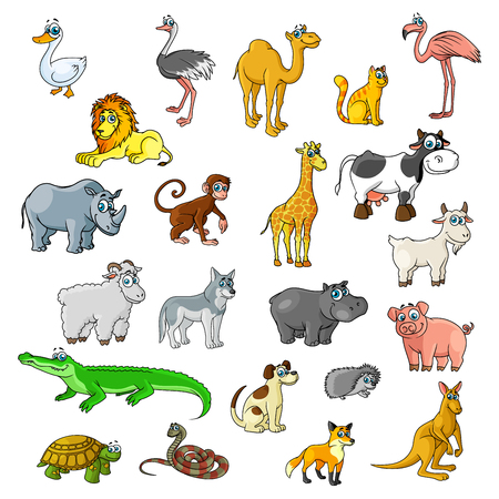 Cartoon animals and pets. Duck, ostrich and flamingo birds, camel and cat, lion, cow and rhino, monkey and african giraffe. Vector isolated icon of goat or ram, hippopotamus, wolf dog and kangaroo