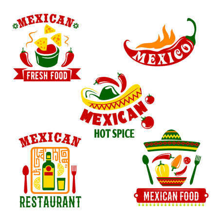 Mexican restaurant or cafe bar icons set. Mexico cuisine vector symbols of spicy chili pepper jalapeno, tequila drink and lime, nachos chips with salsa sauce and traditional sombrero hat Illustration