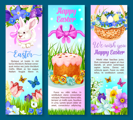 Happy Easter banners set of paschal eggs, cake and bunny rabbit in springtime flowers bunch of crocuses, daffodils and tulips in wicker basket. Vector design for Easter religion holiday greeting